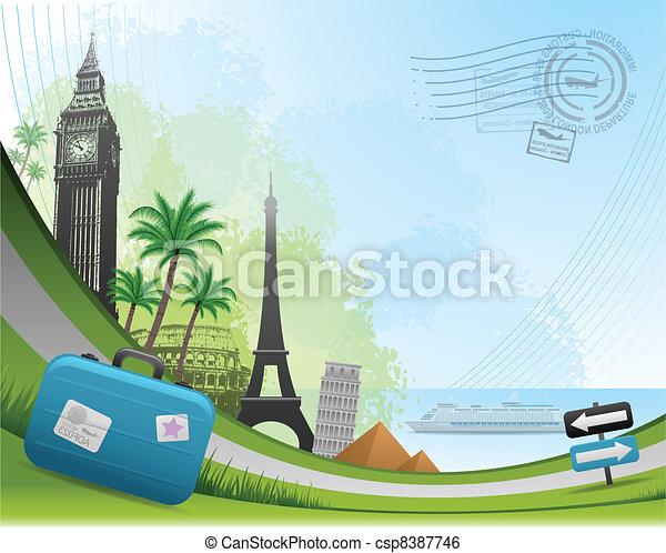 voyage, postal, carte, fond - csp8387746