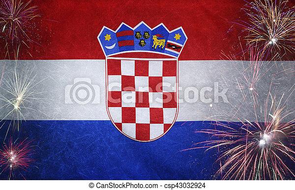 vrai, concept, grunge, tissu, drapeau, feud'artifice, croatie - csp43032924
