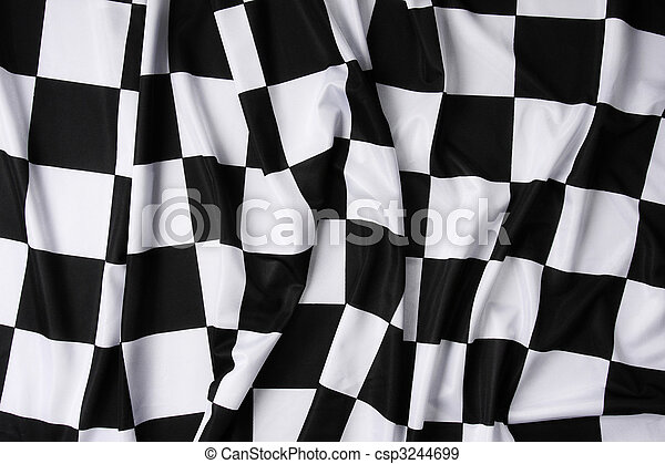 vrai, drapeau ondulant, checkered - csp3244699