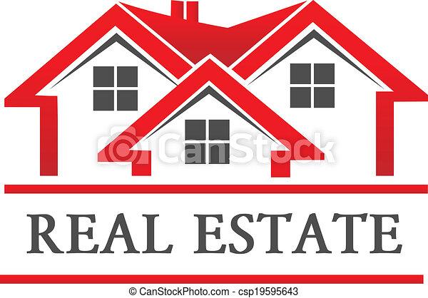 vrai, maison, compagnie, propriété, logo - csp19595643