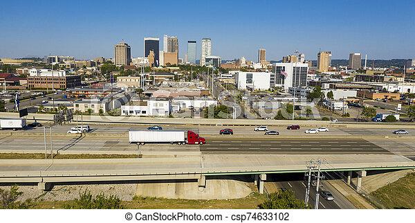 vue, lumière du jour, métro, alabama, urbain, secteur, en ville, clair, aérien, birmingham - csp74633102