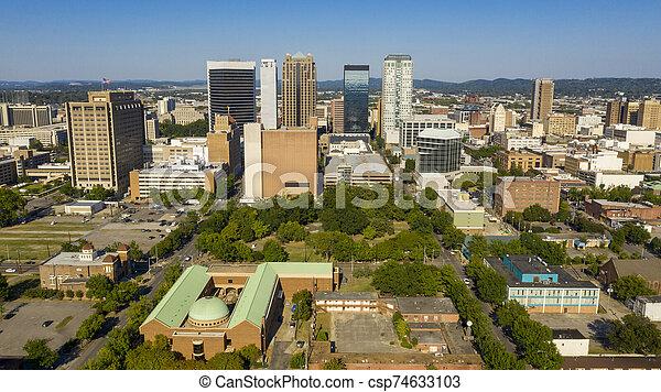 vue, lumière du jour, métro, alabama, urbain, secteur, en ville, clair, aérien, birmingham - csp74633103