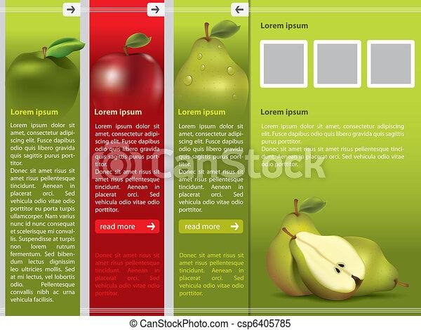 webpage, fruit frais, gabarit, themed - csp6405785
