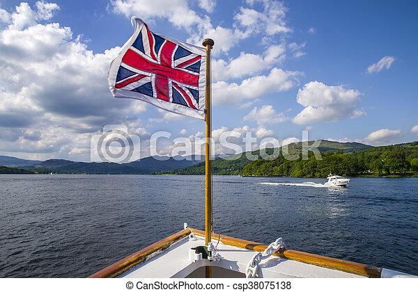 windermere, district, lac, britannique, voyage, bateau - csp38075138