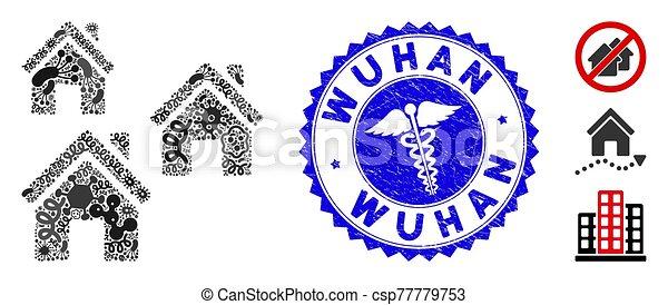 wuhan, healthcare, gratté, mosaïque, viral, bâtiments, village, cachet, icône - csp77779753