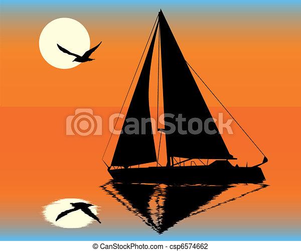 yacht, silhouette - csp6574662