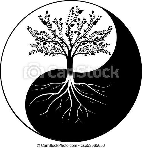 yang, arbre, yin - csp53565650