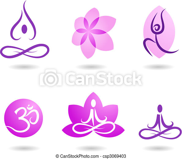 yoga, collection, icônes - csp3069403