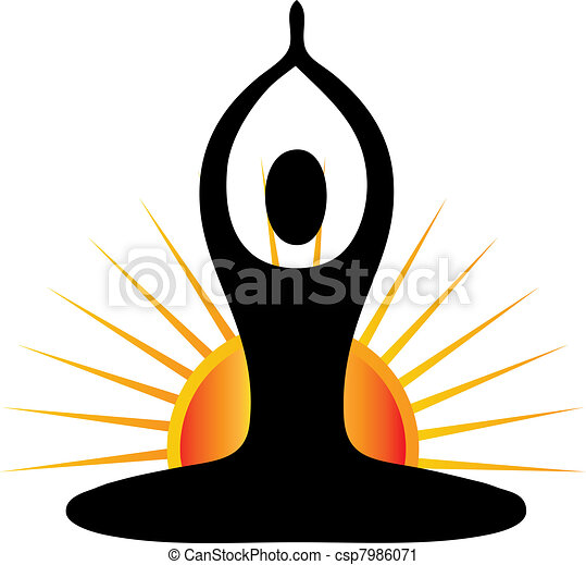 yoga, jour, figure, ensoleillé - csp7986071