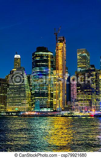 york, nuit, nouveau, manhattan, coloré, vue - csp79921680