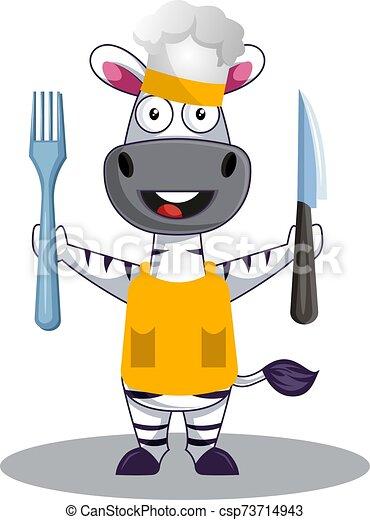 zebra, cuisine, illustration, blanc, vecteur, arrière-plan. - csp73714943